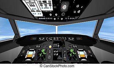 cockpit of airplane