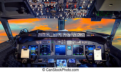 cockpit Flight Deck sunset