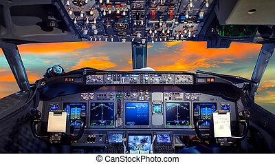 cockpit, flug, sonnenuntergang, deck