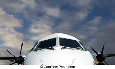 front cabin aircraft - Cockpit, front cabin aircraft against...