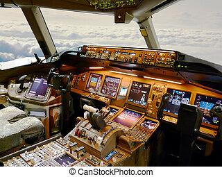 cockpit, gedurende, vlucht