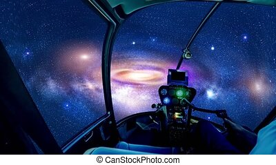 Cockpit in galaxy in deep space - Space ship cockpit at ...
