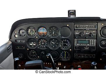 cockpit, licht, motorflugzeug