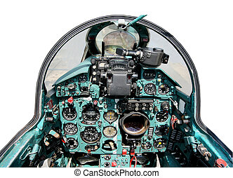 cockpit Russian mig 21 with similar technology , isolated