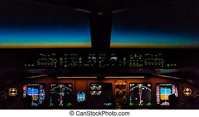 cockpit, nacht, kontrollen