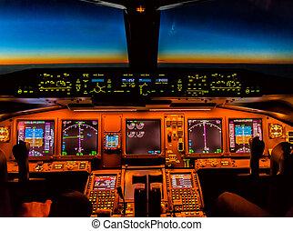 Cockpit night Controls - Cockpit controls at night, sun ...