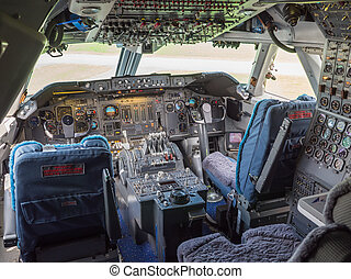 View inside the cockpit of a jumbo jet airliner