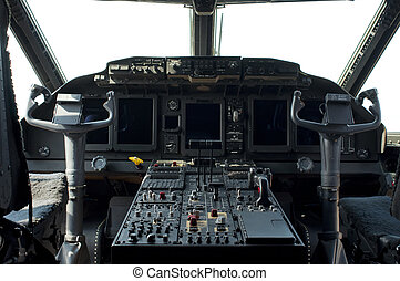 Cockpit of a military aircraft. Horizontal image
