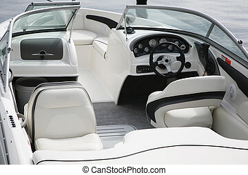 Cockpit of a speedboat - Detail from an expensive speedboat.