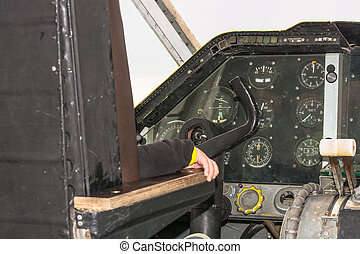 Cockpit of a vintage aircraft