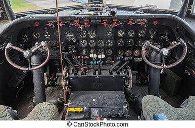 Cockpit of a vintage plane