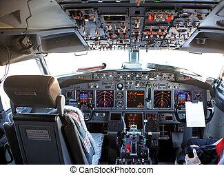 cockpit of an aircraft - empty cockpit of a passenger...