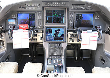 Cockpit of an Airplane - Controls in Cockpit of a Turboprop...