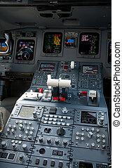 Cockpit of jet airliner