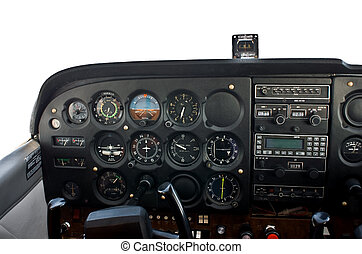 Cockpit of light airplane