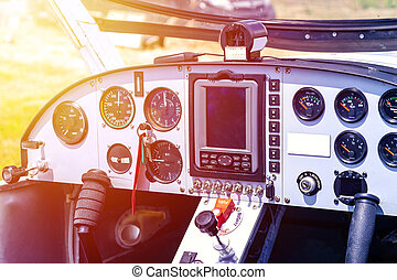 Cockpit of small airplane