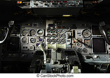 Cockpit of the airplane - Center console and throttles in...