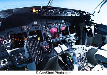 cockpit, passagierflugzeug