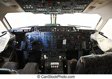 cockpit - pilot cockpit in an passenger commercial airplane