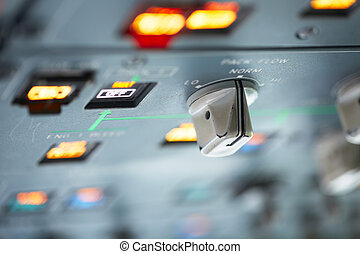 Cockpit - close up view on the control panel