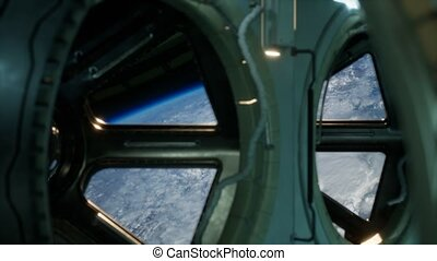 Cockpit view from International Space Station operating nearby of planet Earth. Elements of this image furnished by NASA.