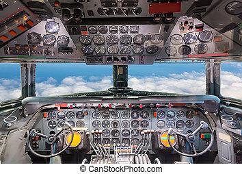 cockpit, vliegtuig, overzicht.