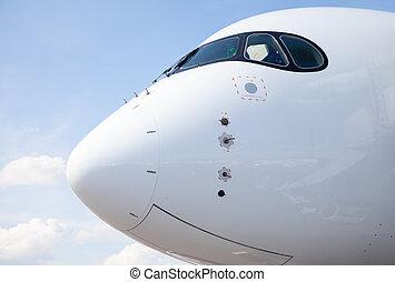 cockpit, von, ein, flugzeug