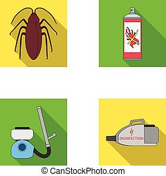 Cockroach and equipment for disinfection flat icons in set collection for design. Pest Control Service vector symbol stock web illustration.