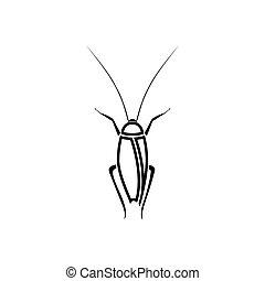 Cockroach black color icon .