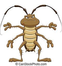 Cockroach - Cartoon cockroach on a white background, vector ...