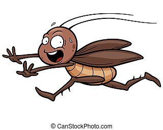 Cockroach - Vector illustration of cartoon cockroach running...