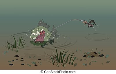 Cockroach fishing. Scene on the theme of nature and water life. Vector illustration for cards, posters and children's books.
