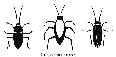 Cockroach insect icons set, simple style