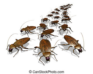 Cockroach Invasion - An army of cockroaches - 3D render. ...