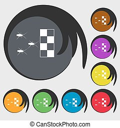 cockroach races icon. Symbols on eight colored buttons. Vector