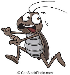 Cockroach - Vector illustration of cartoon cockroach running