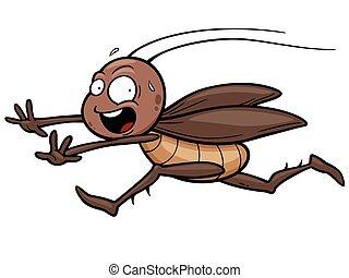 Cockroach - Vector illustration of cartoon cockroach running