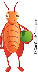 Cockroach with green apple icon, cartoon style