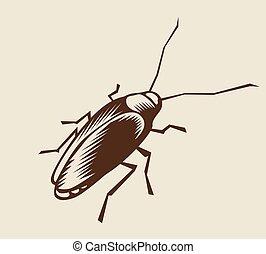 Cockroach - Woodcut cockroach. Eps8. CMYK. Global colors....