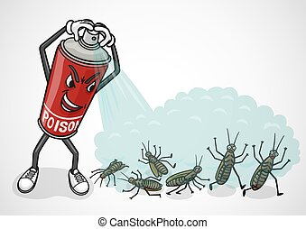 cockroaches., poison, pulvérisateurs, vaporisez boîte, dessin animé