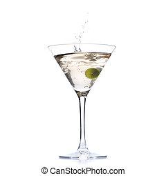 cocktail, à, olive, éclaboussure, isolé, blanc