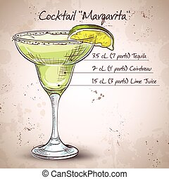 Cocktail alcohol Margarita - Classic margarita cocktail with...