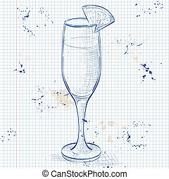 Cocktail alcohol Mimosa on a notebook page