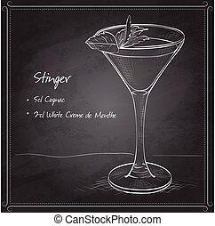 Cocktail alcoholic Stinger on black board
