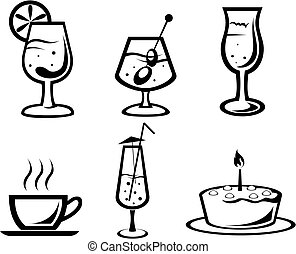 Cocktail and drink symbols - Set of cocktail and food...
