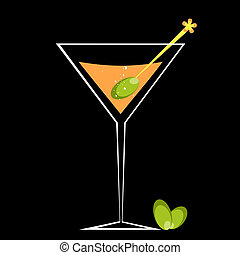 Cocktail and Olive