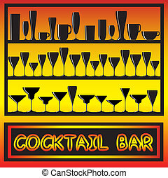 A vector illustration for a coctail bar poster with glass silhouettes