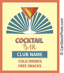 Cocktail bar poster in retro style