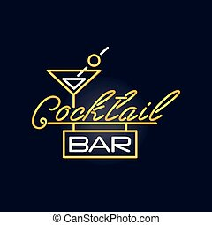 Cocktail bar retro neon sign, vintage bright glowing signboard, light banner vector Illustration