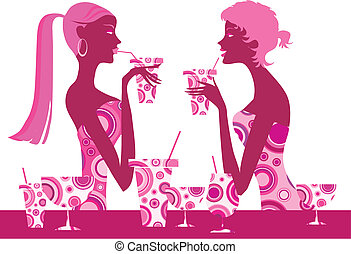 Two cool girls enjoy cocktails